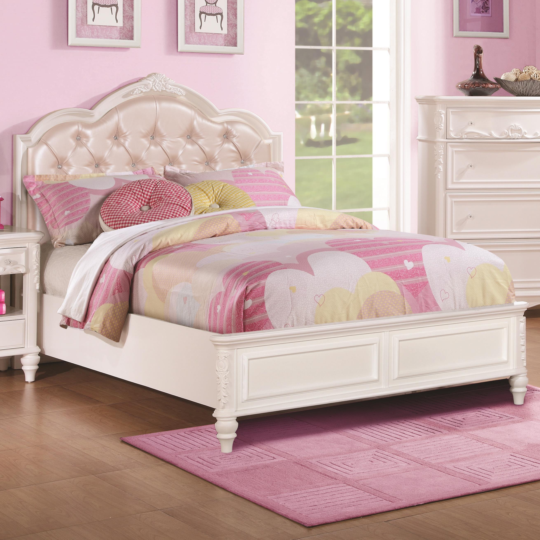 Coaster Caroline 400720f Full Size Bed With Diamond Tufted Headboard Corner Furniture Upholstered Beds