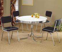 Coaster Cleveland 5 Piece Dining Table & Upholstered