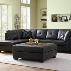 Living Room Black Leather Sectional Wall Shelves For The Coaster Darie Sofa With Left Side Chaise Value