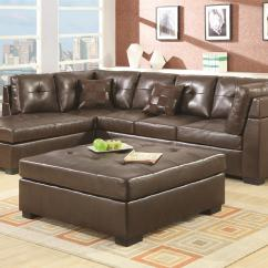 2 Piece Brown Leather Sofa Cindy Crawford Fontaine Sectional Coaster Darie 500686 With Left Side Chaise