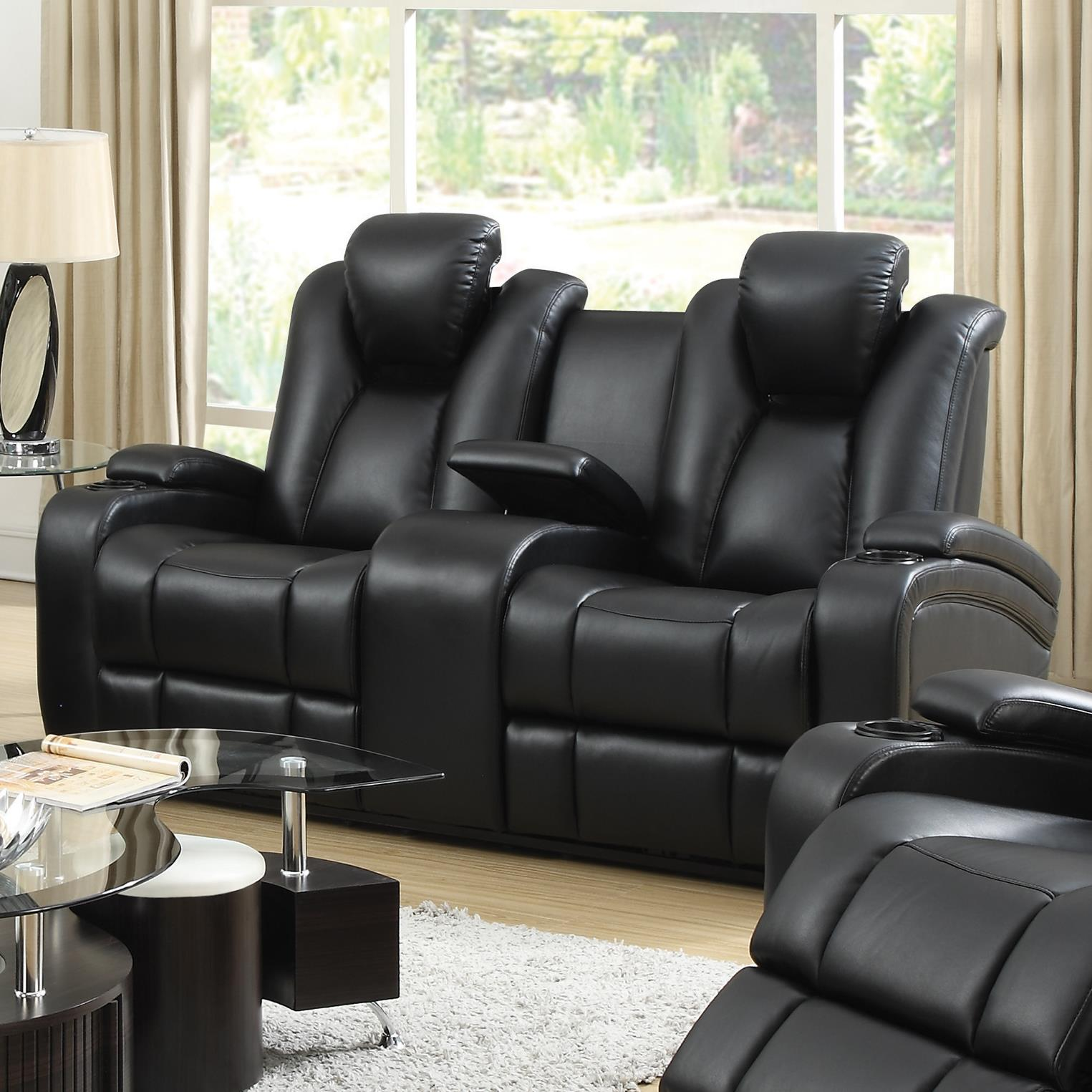 Double Recliner Chair Delange Reclining Power Loveseat With Adjustable Headrests Storage In Armrests By Coaster At Lapeer Furniture Mattress Center