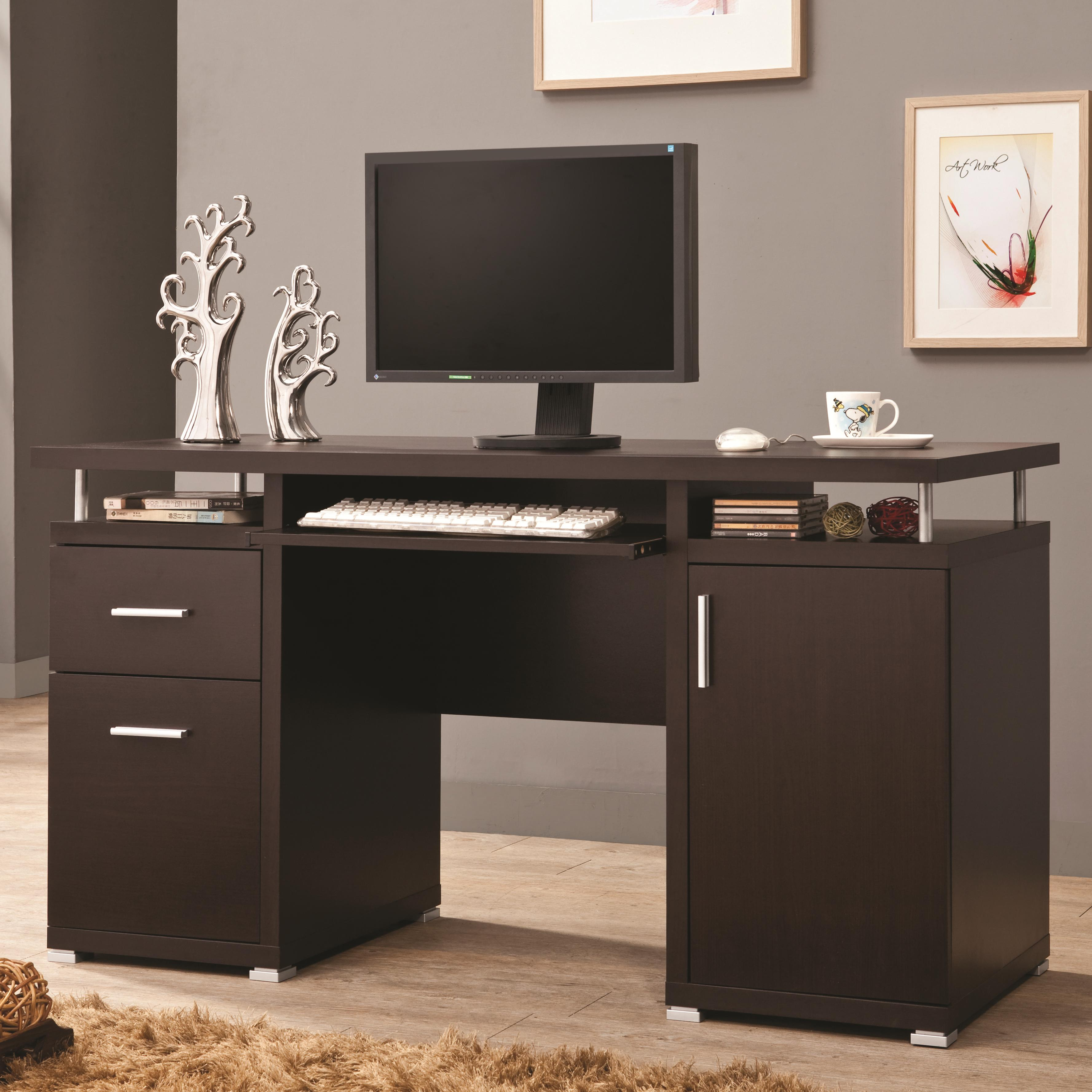 Coaster 800107 Computer Desk with 2 Drawers and Cabinet