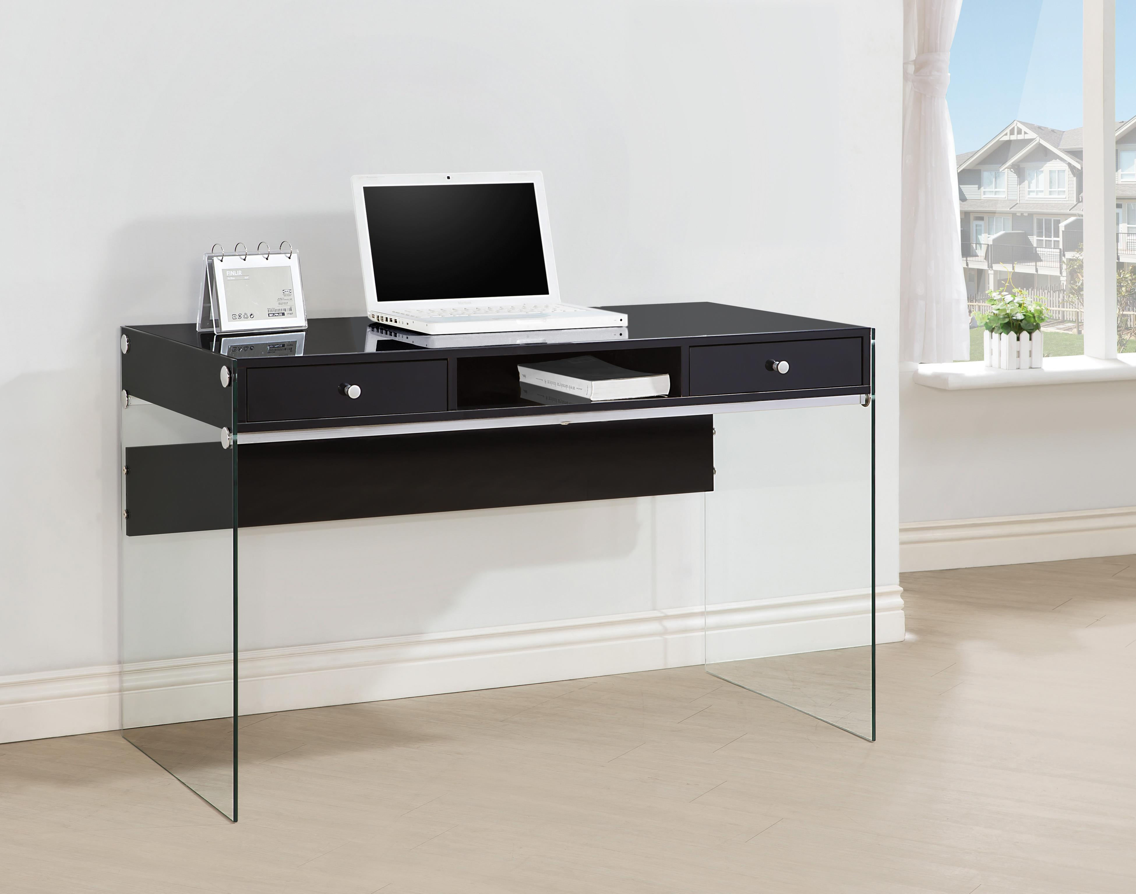 Coaster 800830 Modern Computer Desk with Glass Sides  Del