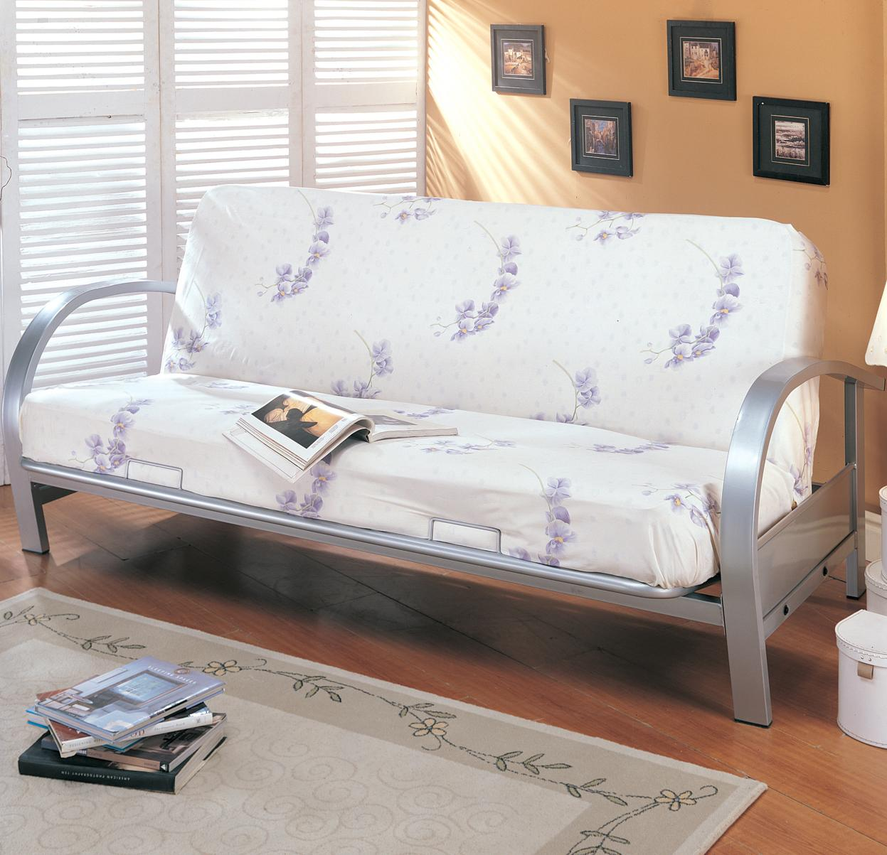 Coaster Futons Contemporary Metal Futon Frame and Mattress Set  Del Sol Furniture  Futons
