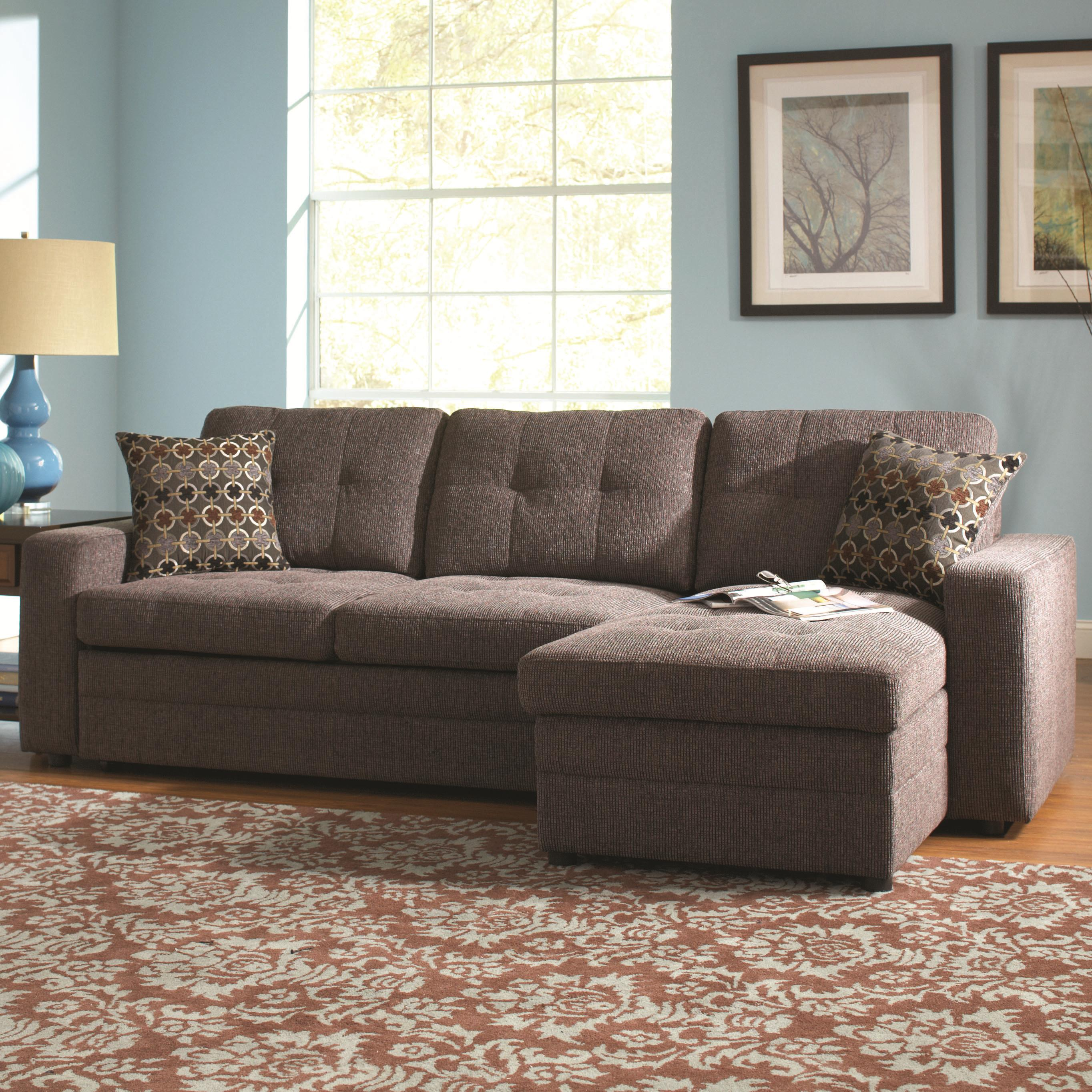 sectional sofa dallas fort worth west elm cover coaster gus 501677 with tufts storage and pull out bed by