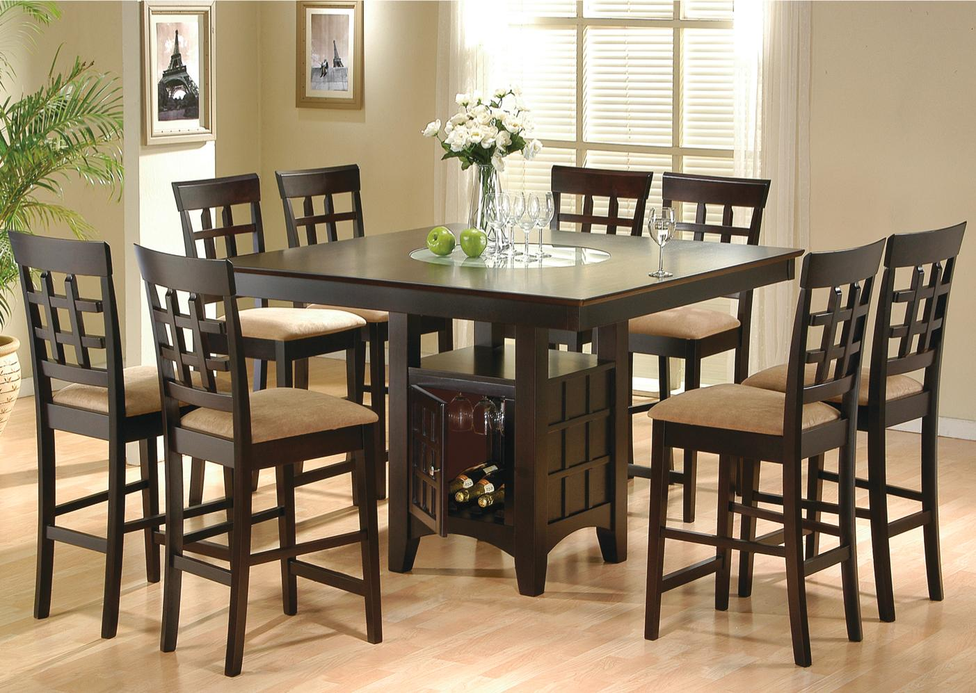 dining room sets 6 chairs folding chair guitar chords coaster mix match 9 piece counter height set dunk