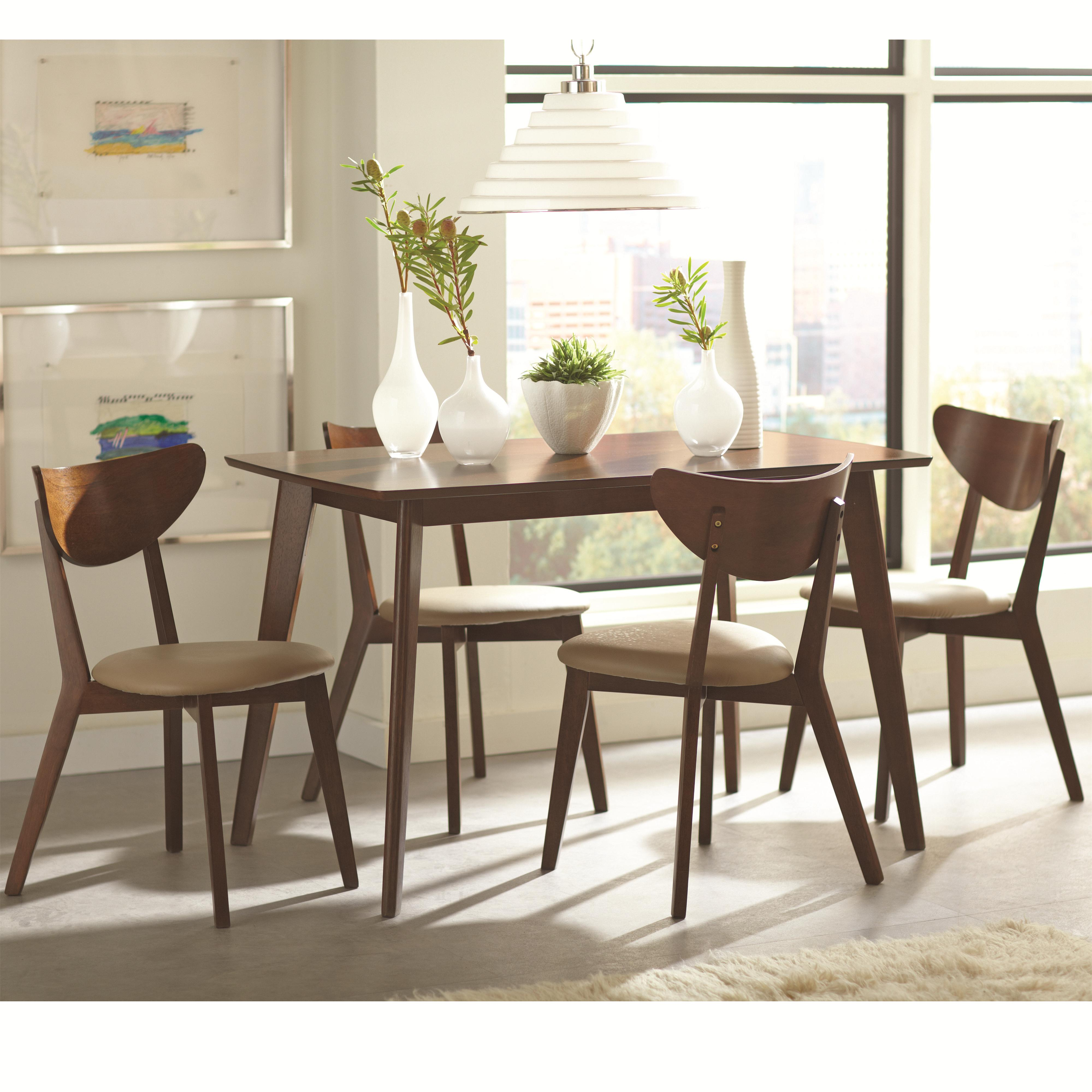 retro dining room table and chairs godrej revolving chair catalogue kaia 5 piece set with angled legs rotmans sets