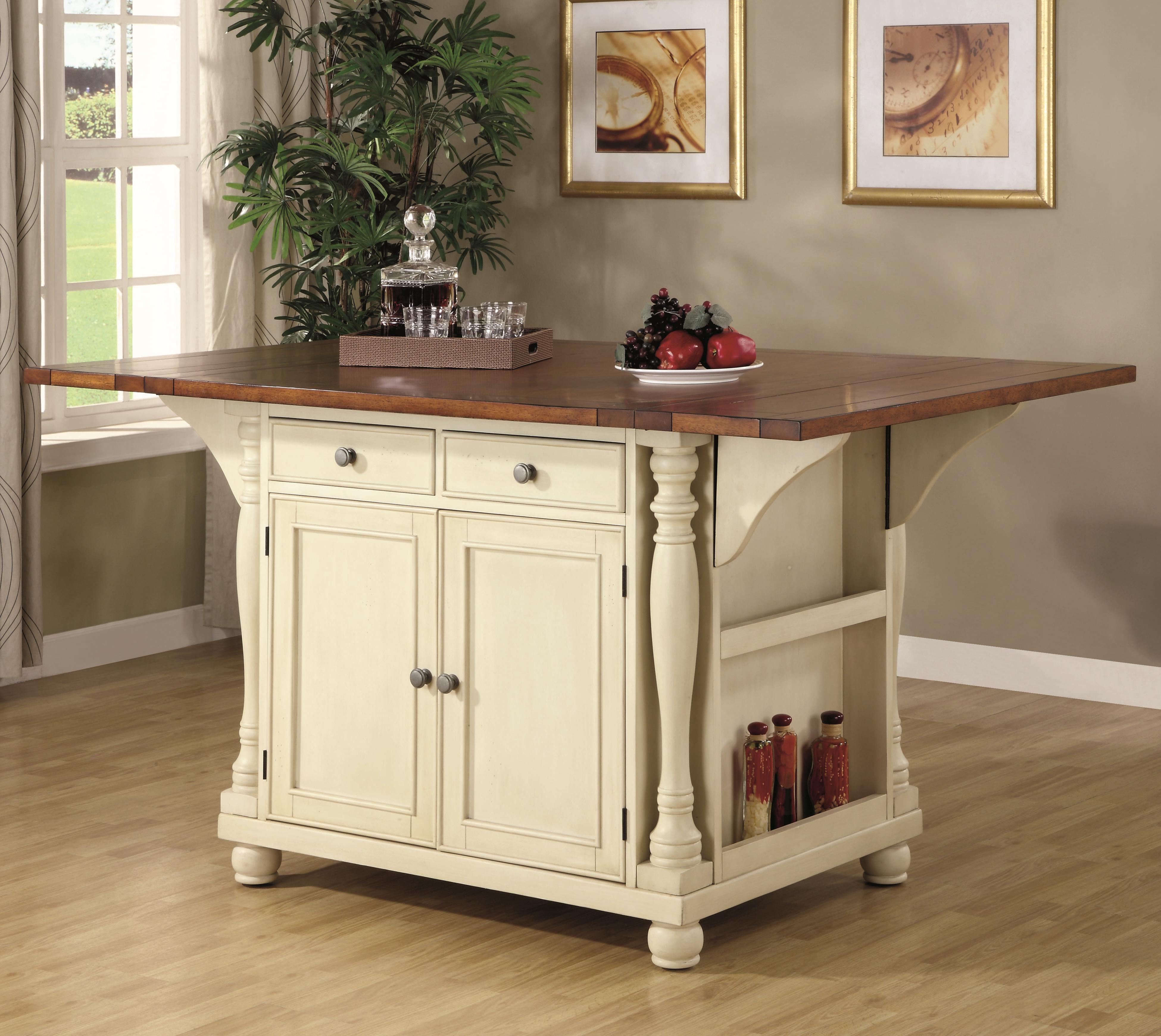 kitchen carts 36 inch round table coaster 102271 two tone island with drop