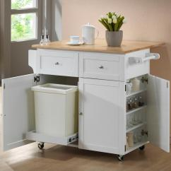 Kitchen Cart Table Grey Rugs Coaster Carts 900558 W Leaf Trash Compartment