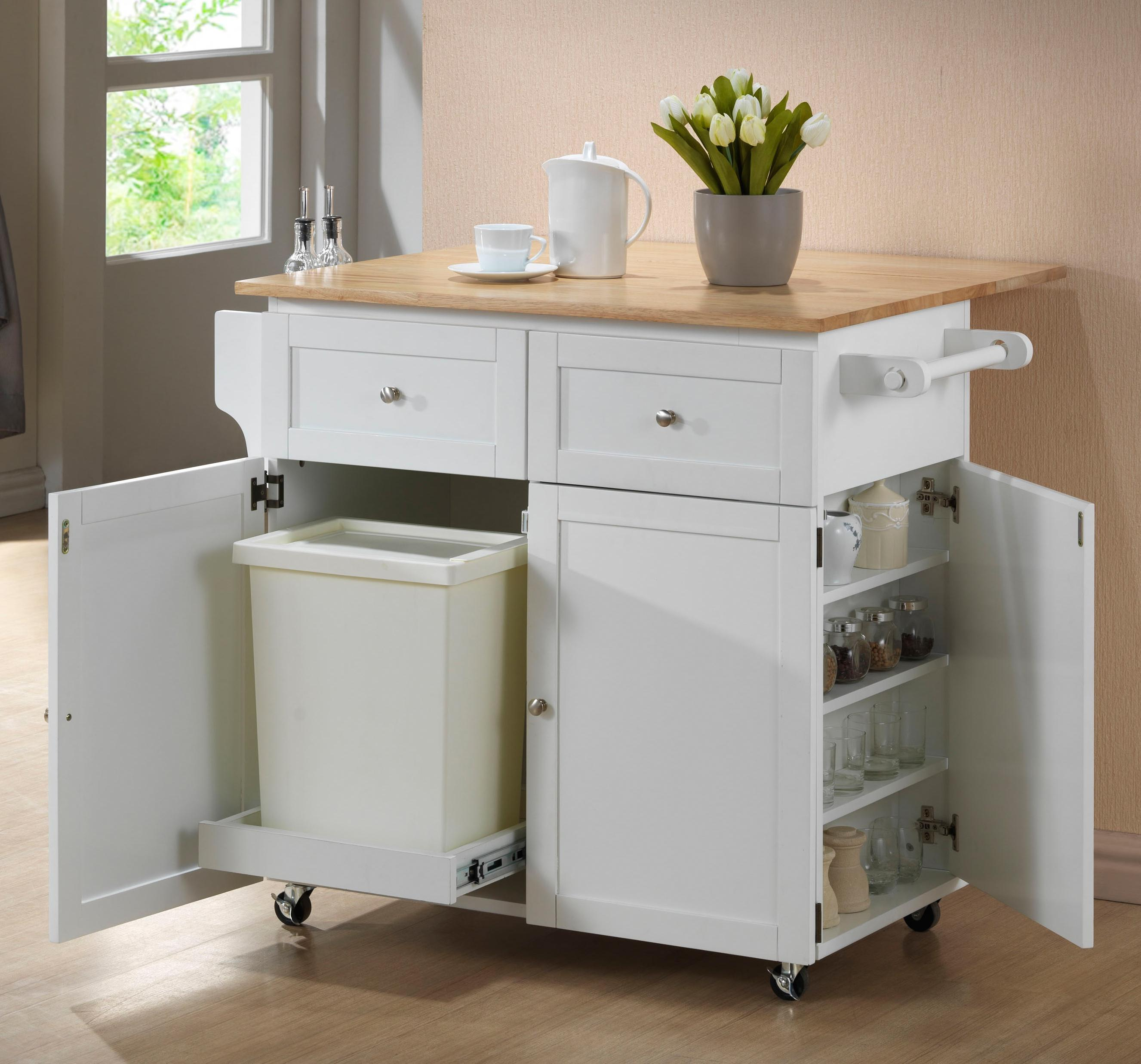 kitchen cart table server coaster carts 900558 w leaf trash compartment