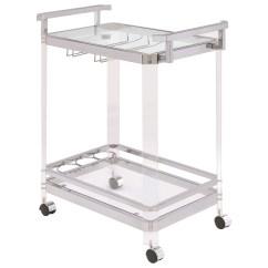 Kitchen Serving Cart Glass Backsplash Coaster Carts 902589 Contemporary With Acrylic