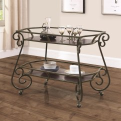 Kitchen Serving Cart Cabinet Brands Reviews Coaster Carts 910143 Traditional With Scroll Item Number
