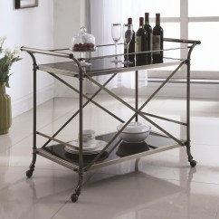Kitchen Serving Cart Modern Valances Coaster Carts 910190 Metal With Glass Top