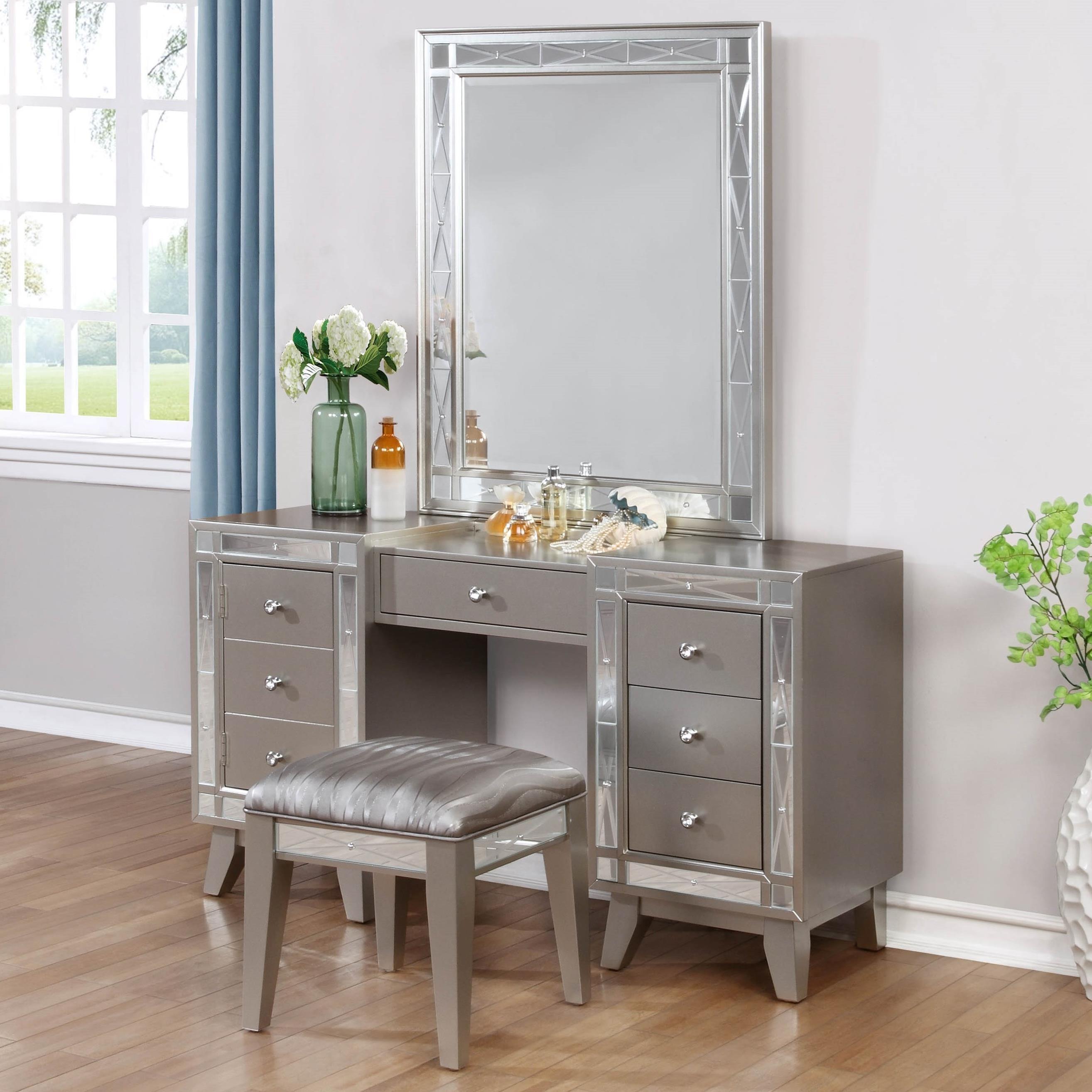 leighton vanity desk stool and mirror combo