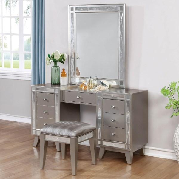 Coaster Leighton Glam Vanity Desk Stool And Mirror Combo