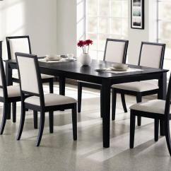 Black Kitchen Table And Chairs Stainless Steel Shelves For Coaster Lexton 101561 Rectangular Dining With 18 Leaf Dunk