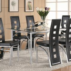 Black Dining Table And Chairs Swing Chair Urban Ladder Coaster Los Feliz Contemporary Metal Upholstered Set