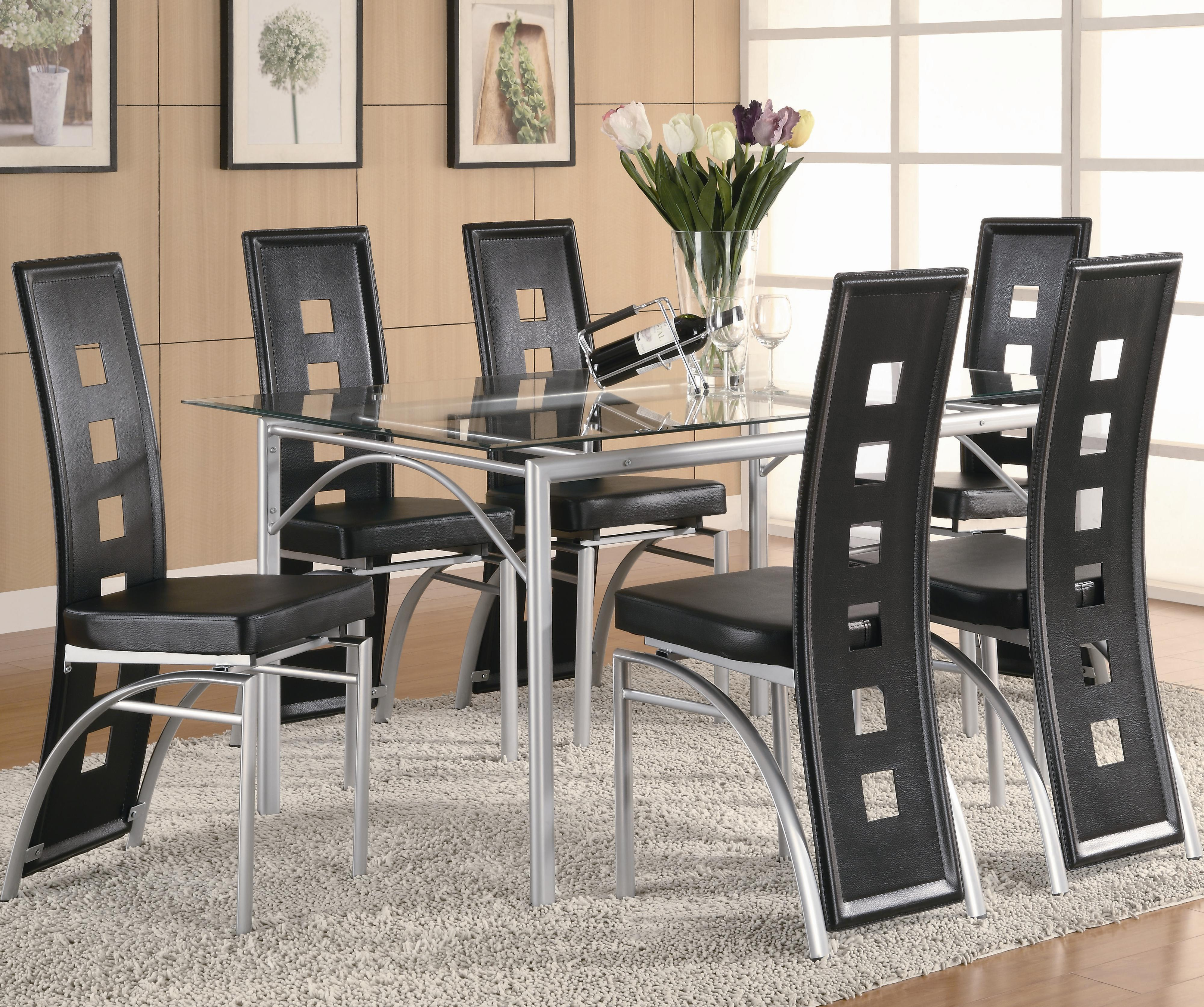 Black Dining Room Table And Chairs Los Feliz Contemporary Metal Table And Black Upholstered Chairs By Coaster At Value City Furniture
