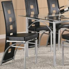 Silver Metal Dining Chairs Wedding Decoration Coaster Los Feliz Black Chair Value City Furniture