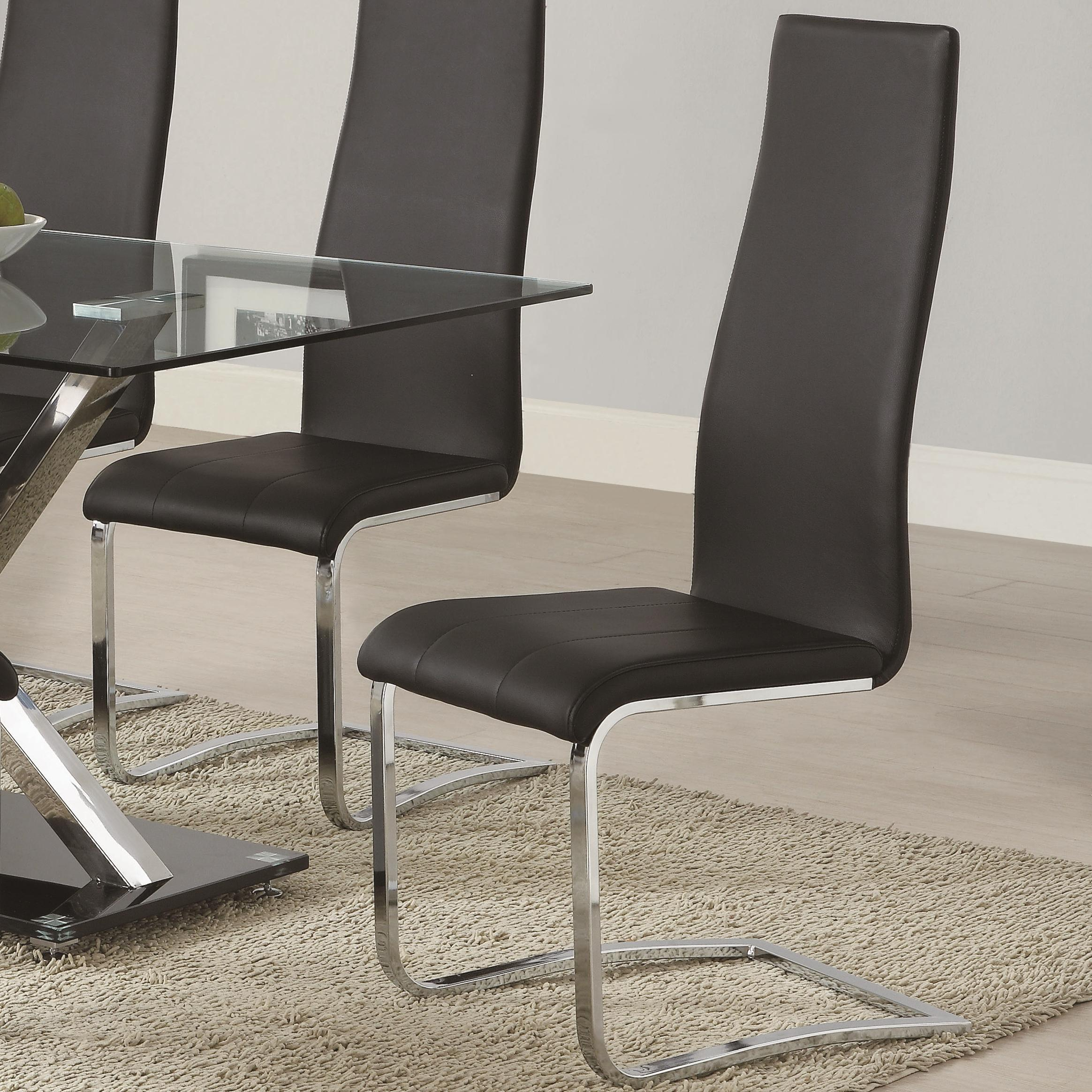 Coaster Modern Dining Black Faux Leather Dining Chair With Chrome Legs Standard Furniture Dining Side Chairs