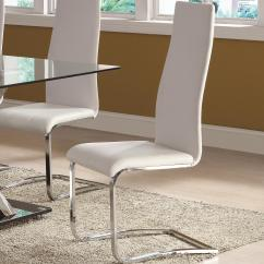 Contemporary White Leather Living Room Chairs Discount Furniture Free Shipping Coaster Modern Dining Faux Chair With Chrome Legs