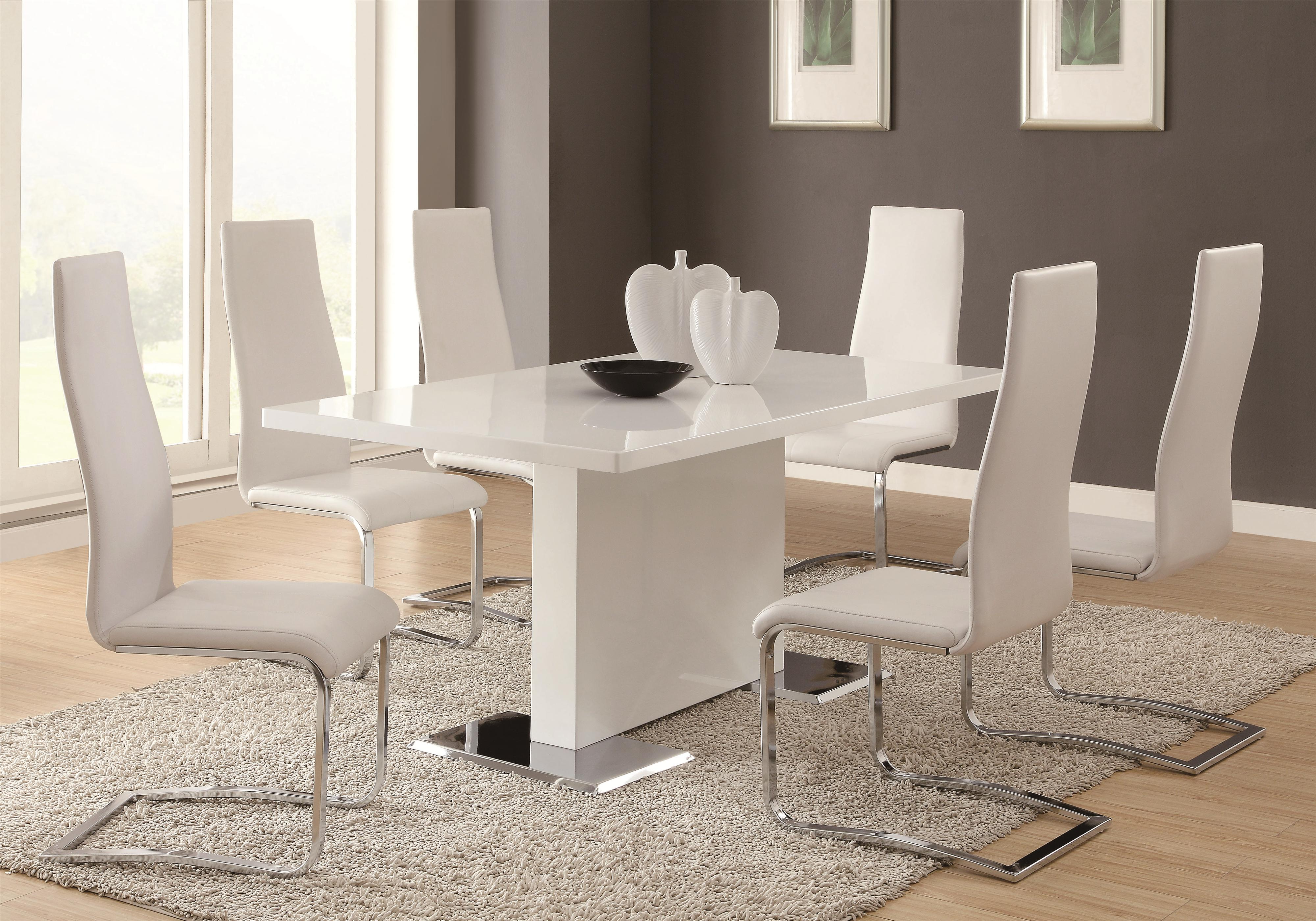kitchen table and chair sets wingback covers australia coaster modern dining 7 piece white upholstered chairs set