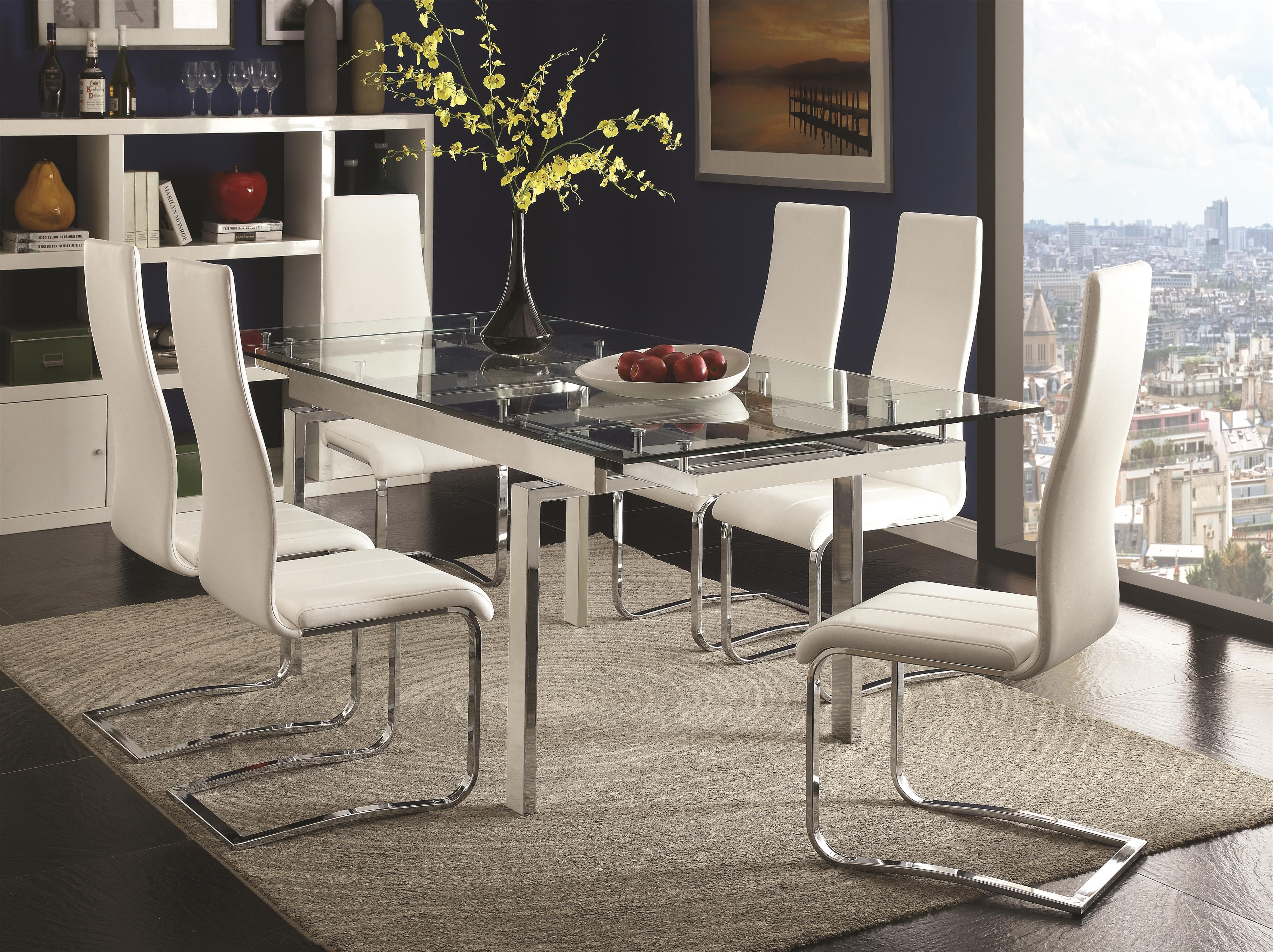 Coaster Modern Dining Contemporary Dining Room Set With Glass Table A1 Furniture Mattress Dining 7 Or More Piece Sets