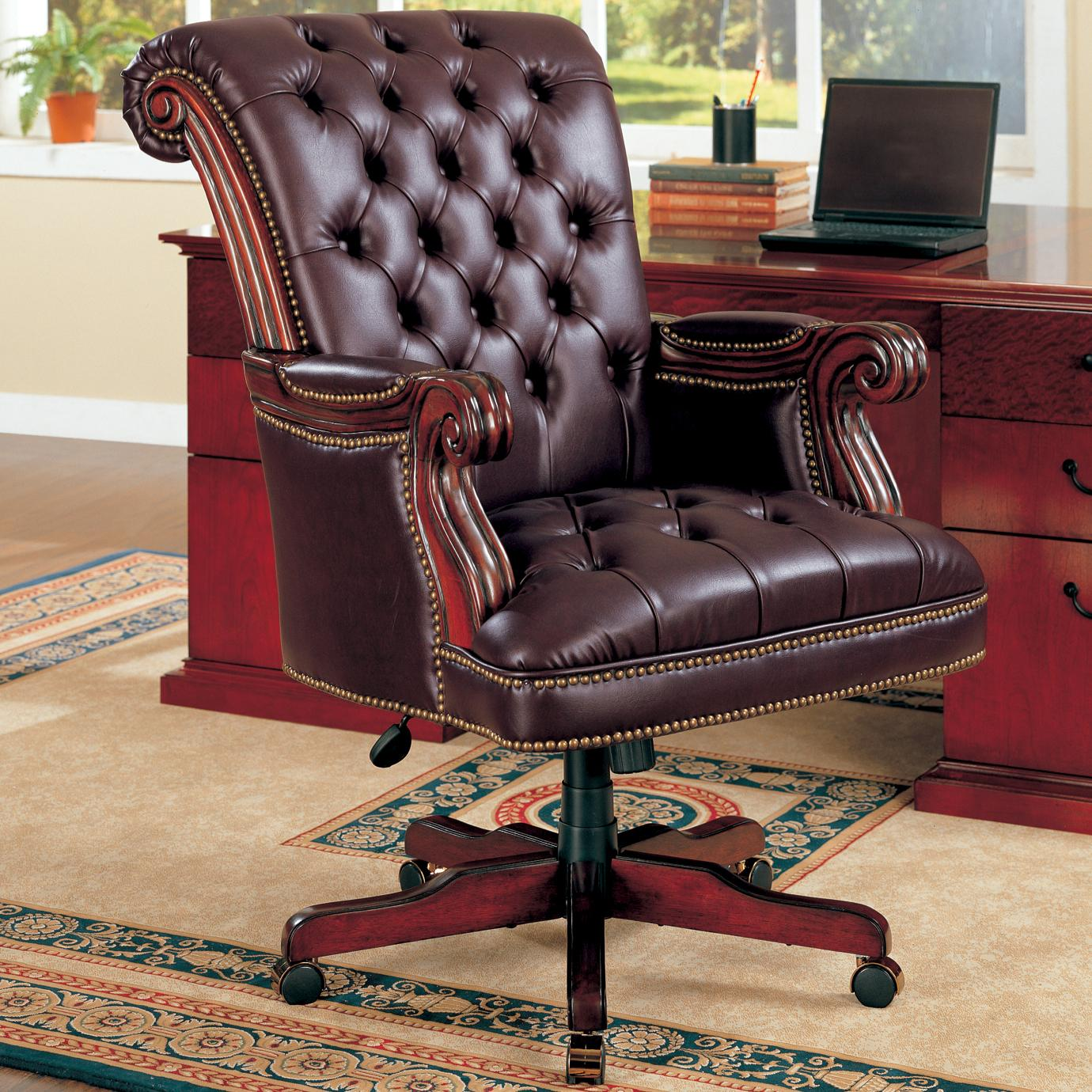 Home Office Desk Chairs Office Chairs Traditional Leather Executive Chair By Coaster At Dunk Bright Furniture