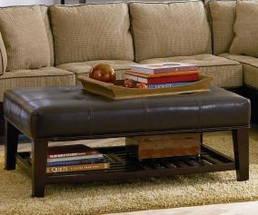 Coaster Ottomans Contemporary Faux Leather Tufted Ottoman With Storage Shelf A1 Furniture Mattress Ottomans