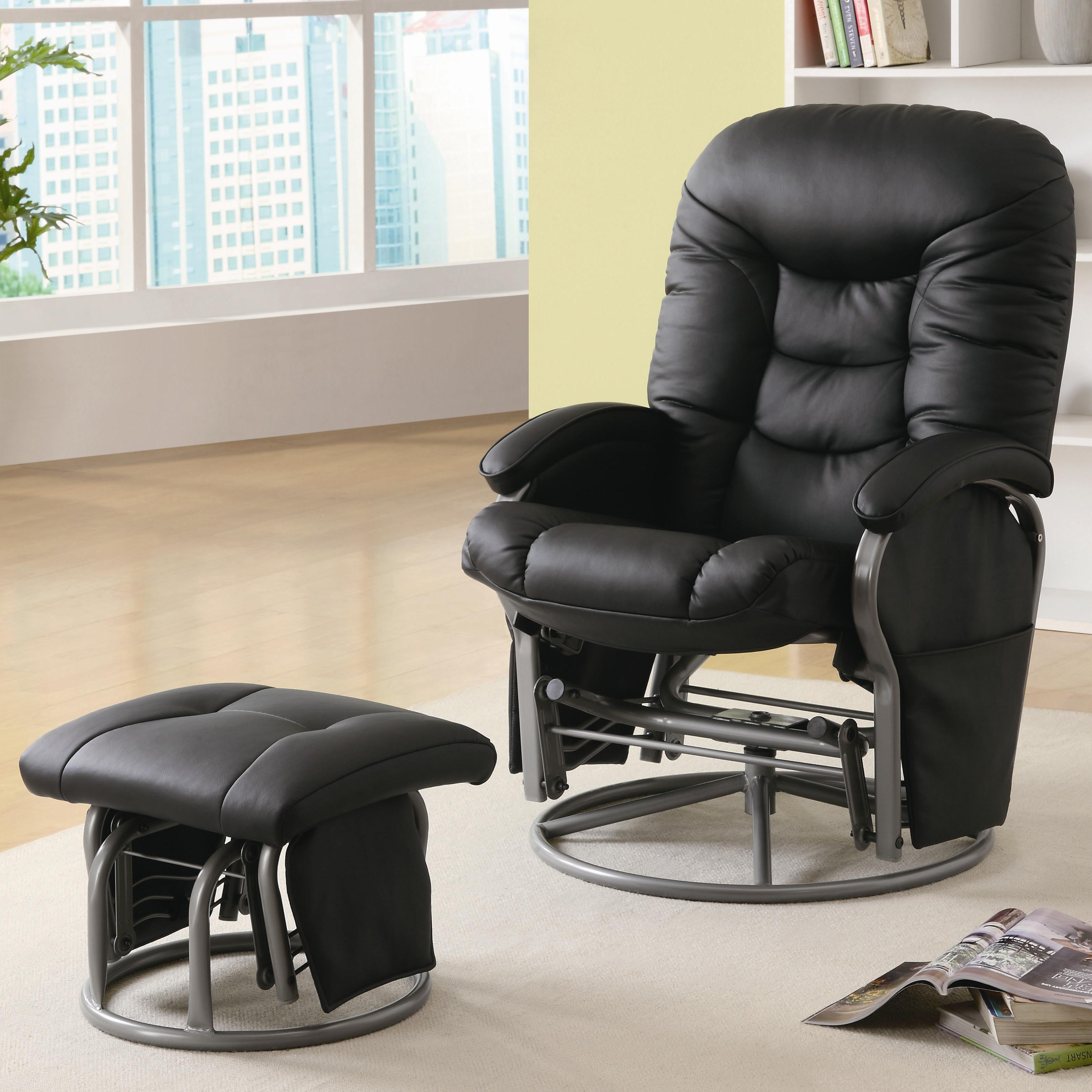 glider recliner chair toddler swing coaster recliners with ottomans casual leatherette ottoman