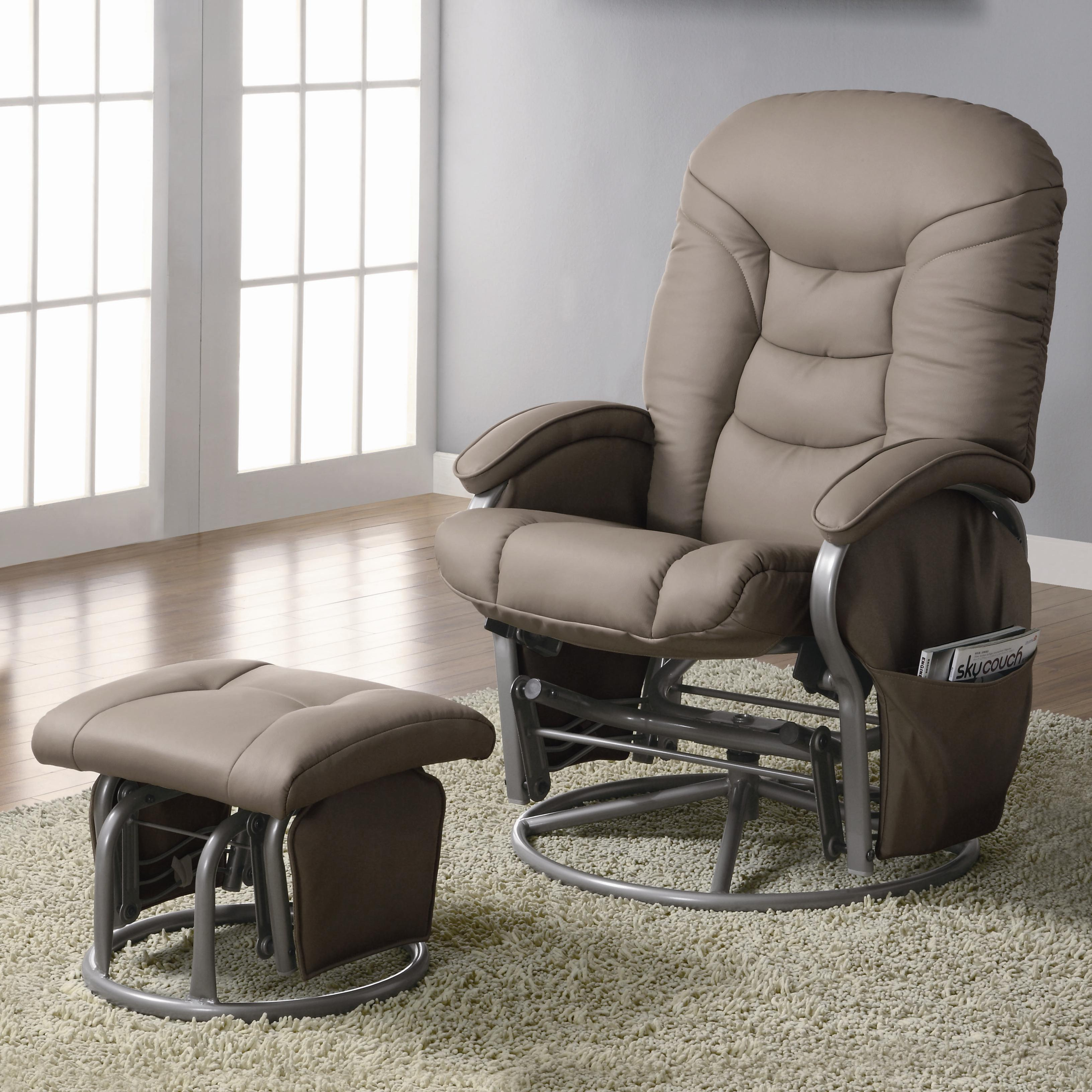 glider recliner chair rustic office coaster recliners with ottomans 600228 casual leatherette ottoman