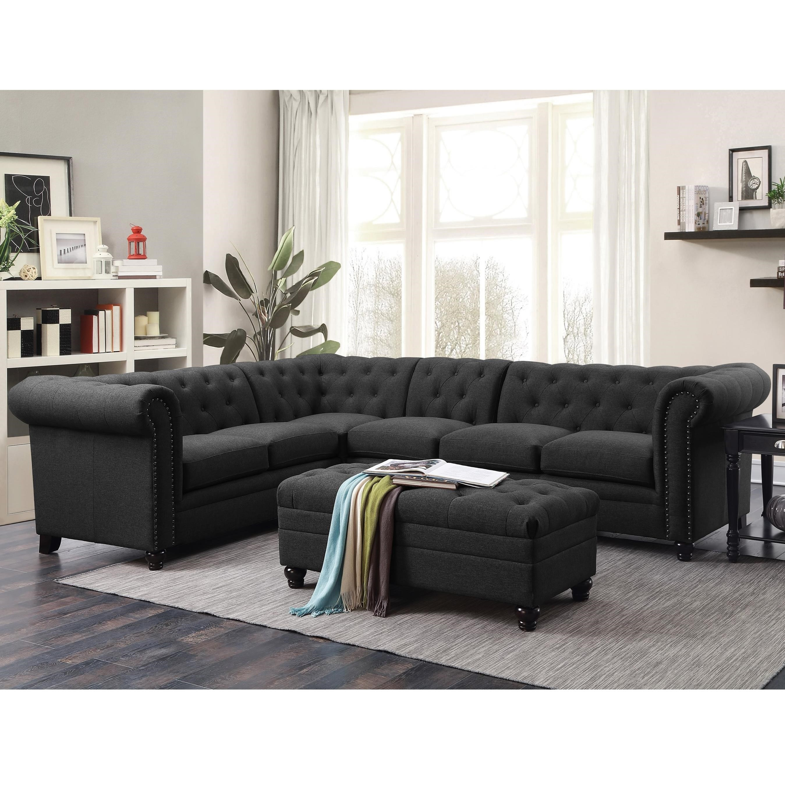Coaster Roy ButtonTufted Sectional Sofa with Armless Chair  Del Sol Furniture  Sectional Sofas
