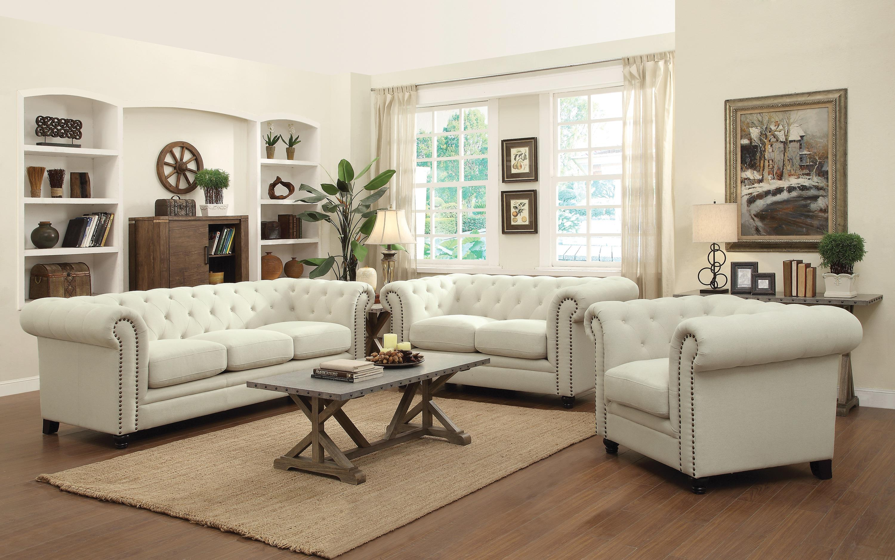 living room with loveseat and chairs inexpensive small ideas coaster roy stationary group value city furniture