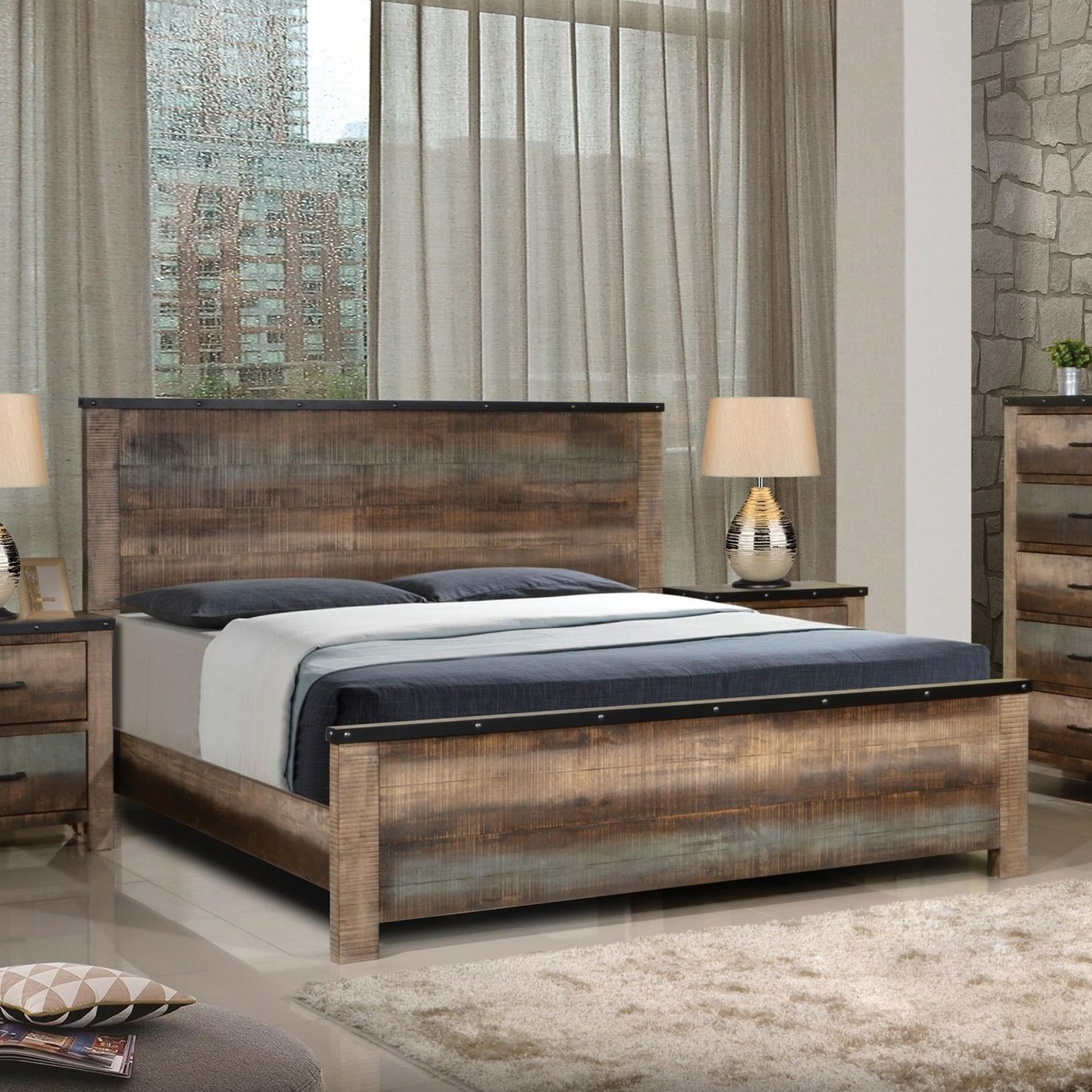 Coaster Sembene Rustic King Bed with Nailhead Accents