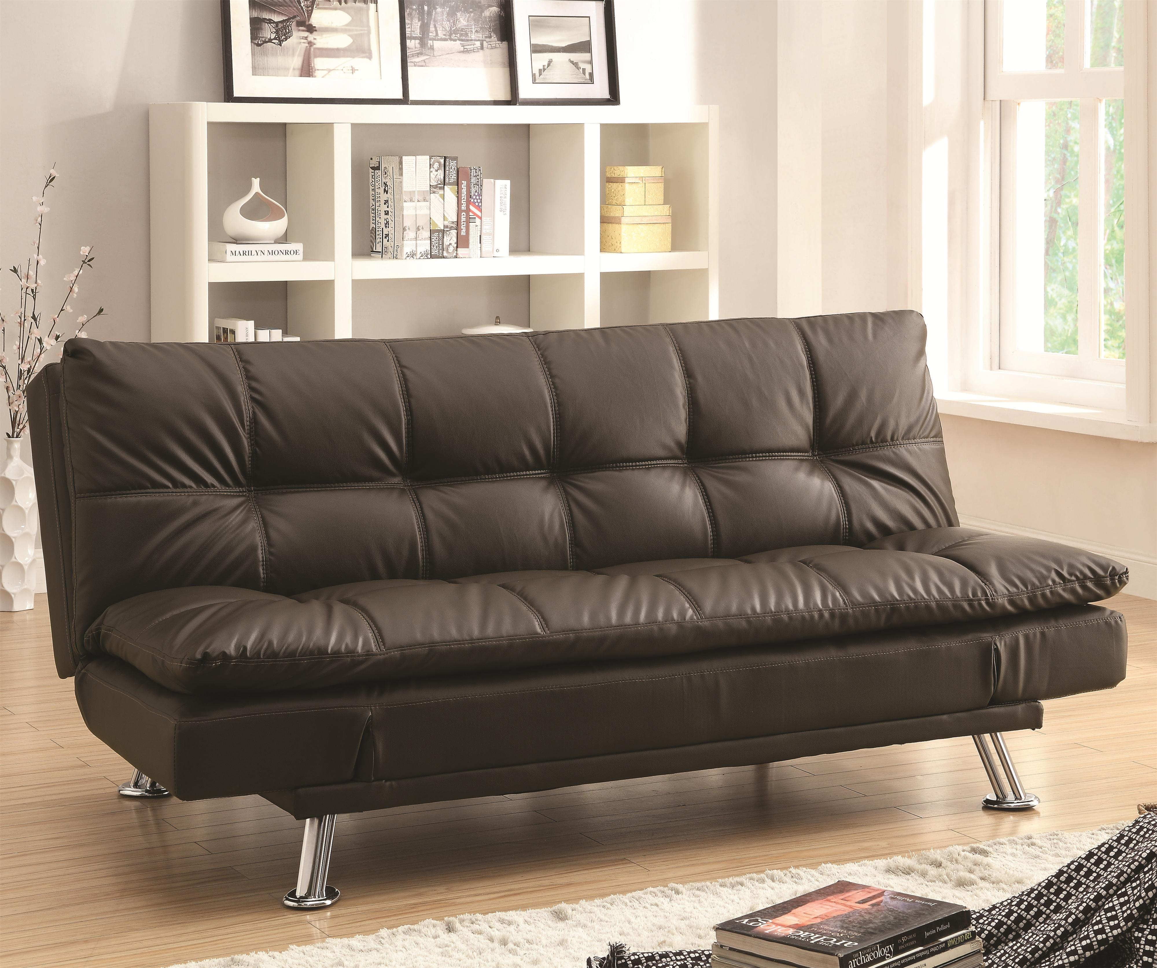 Coaster Dilleston Sofa Bed in Futon Style with Chrome Legs  Rifes Home Furniture  Futons