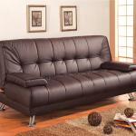 Coaster Sofa Beds And Futons 300148 Faux Leather Convertible Sofa Bed With Removable Armrests Corner Furniture Futons