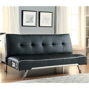 coaster futon sofa bed with removable armrests review beds gumtree melbourne and futons 300148 faux leather convertible built in bluetooth speakers