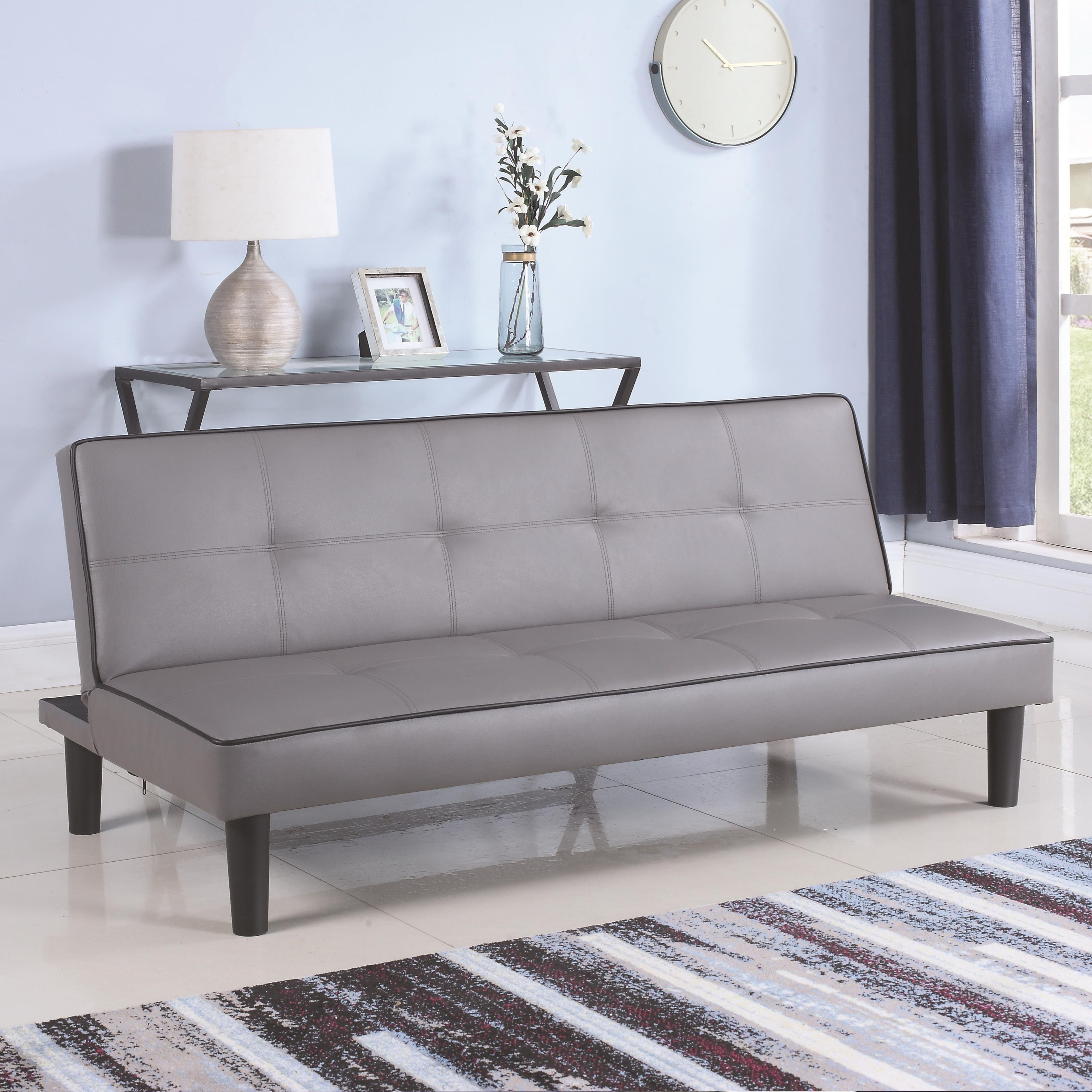 Coaster Sofa Beds and Futons Leatherette Sofa Bed Piping  Value City Furniture  Futons