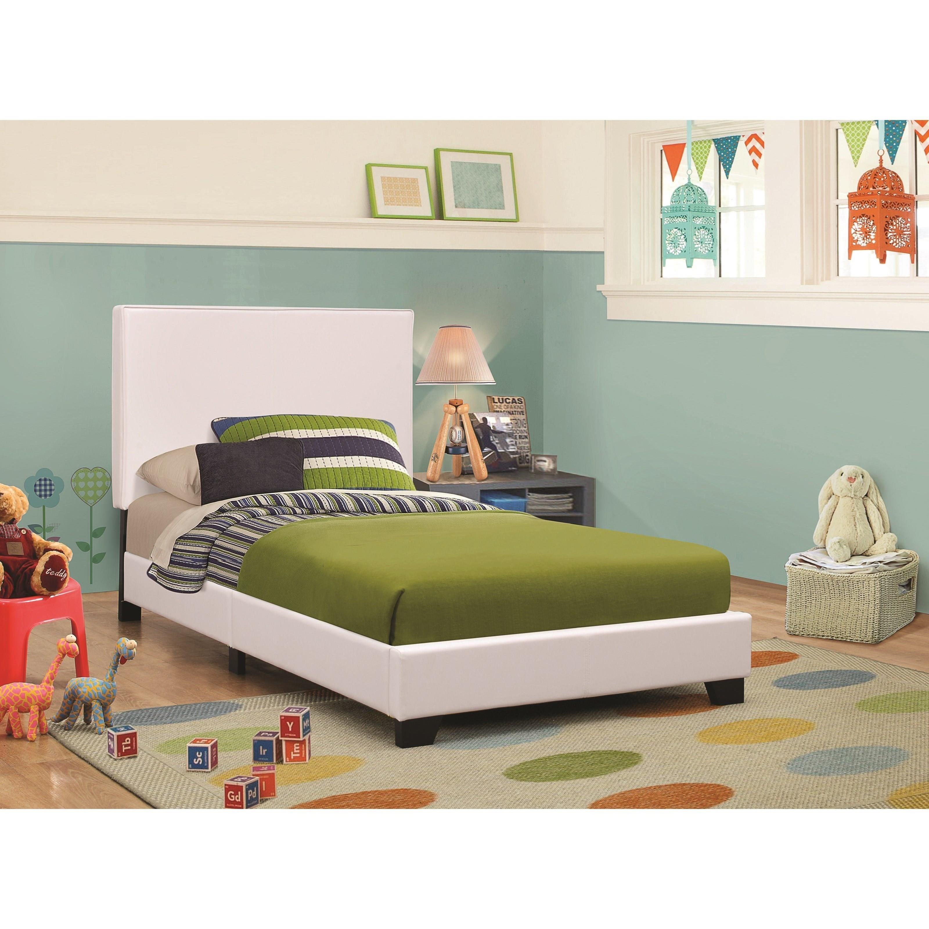 Coaster Upholstered Beds Upholstered Low Profile Twin Bed Prime Brothers Furniture Platform Beds Low Profile Beds