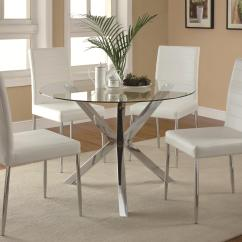 Round Table And Chairs Set White Chair Covers For Dining Room Coaster Vance Contemporary 5 Piece Glass Top