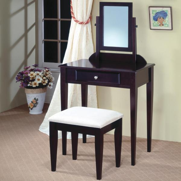 Coaster Vanities Contemporary Vanity And Stool With Fabric
