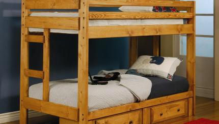 Coaster Wrangle Hill Twin Over Twin Bunk Bed With Built In Ladders Corner Furniture Bunk Beds