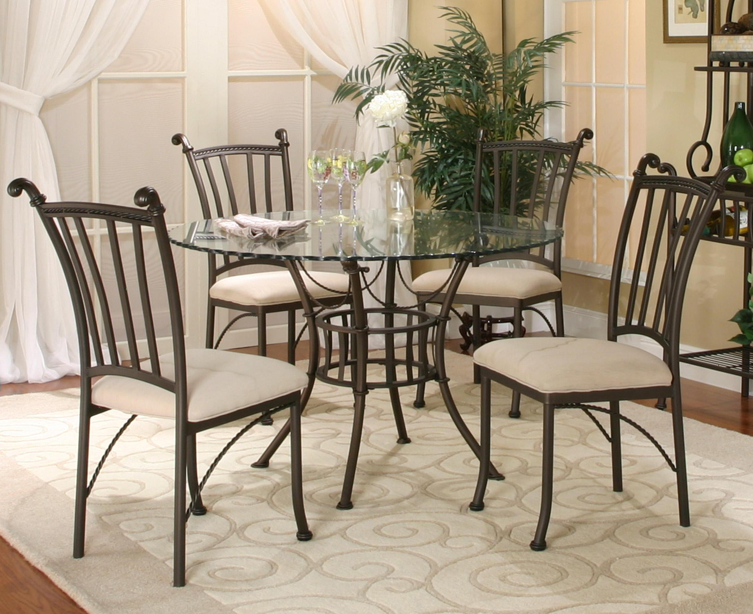 Cramco Inc Denali 5 Piece Round Glass Table With Chairs Corner Furniture Dining 5 Piece Set