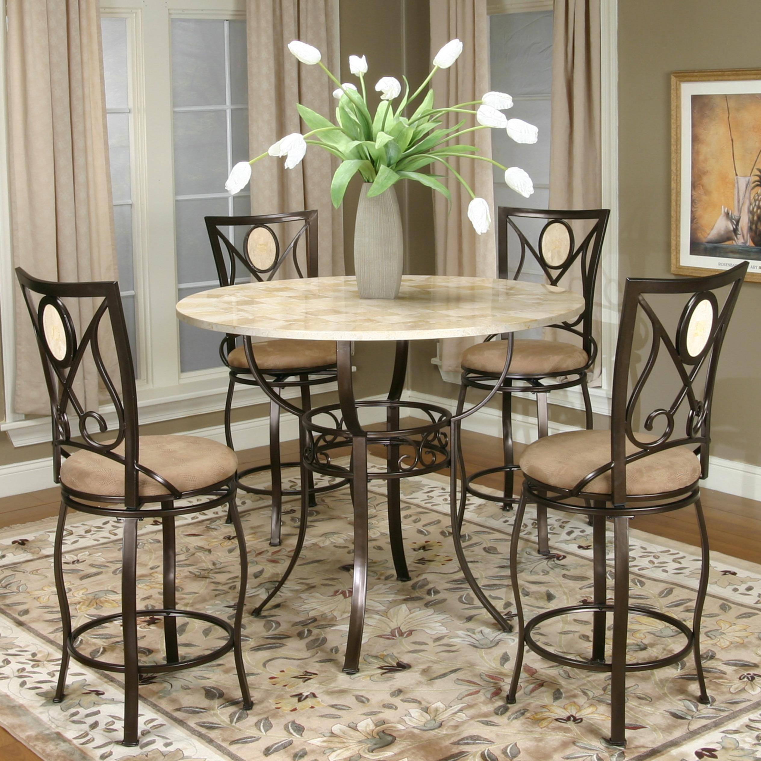 Cramco Inc Cramco Trading Company  Nadia Five Piece Pub Table and Swivel Stool Set  Value