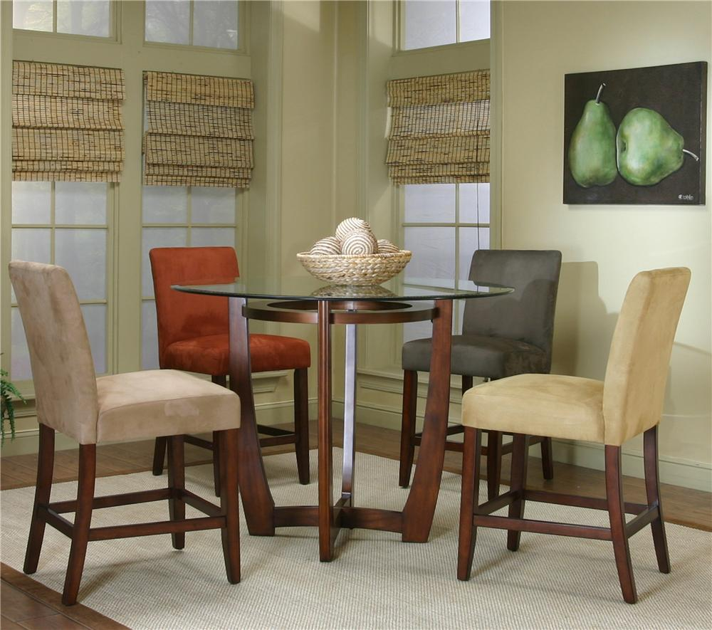 Counter Height Chairs With Arms Contemporary Design Parkwood Round Counter Height Dining Table With Micro Suede Chair Set By Cramco Inc At Value City Furniture