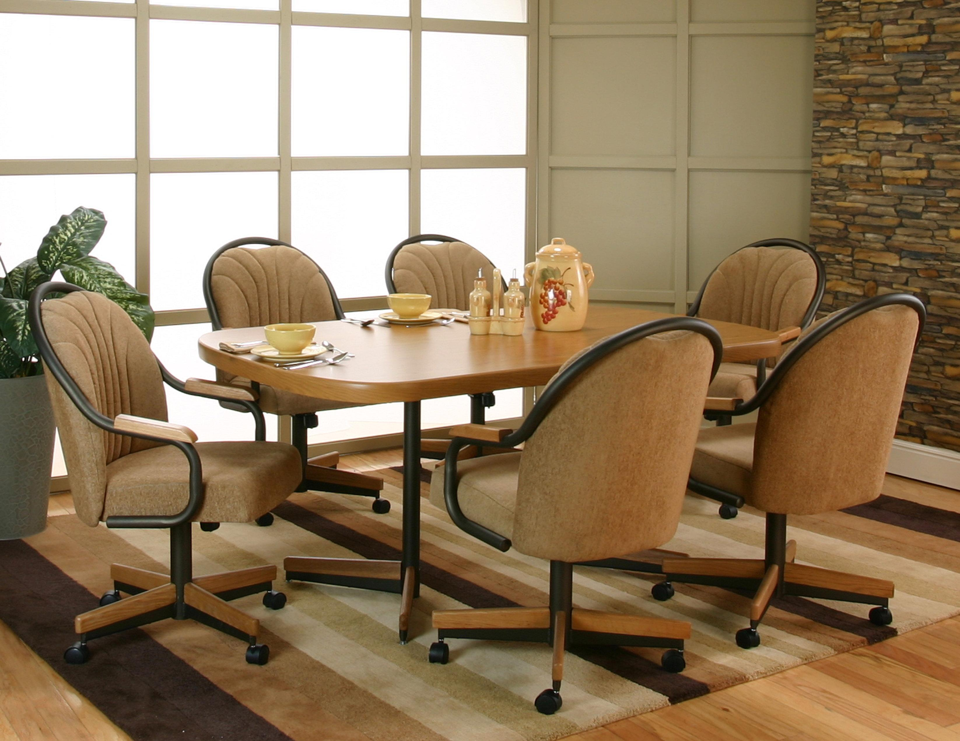 table with swivel chairs swing chair from ceiling cramco inc shaw bow end sunset oak laminate dining 6 arm