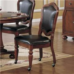 Dining Chairs On Casters Red Folding Target Cramco Inc Timber Lane Faran Brown Cherry Finish Cordovan Vinyl Caster Chair Value City Furniture With