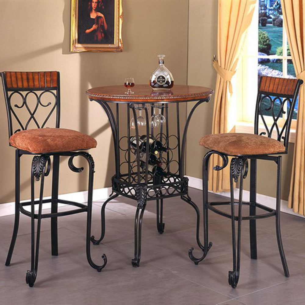 pub table and chairs 3 piece set 2 assisted chair lift crown mark alyssa three round upholstered seat bar