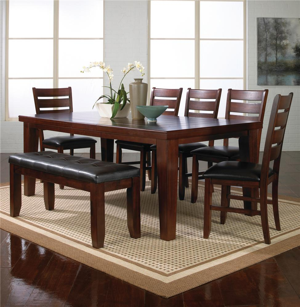 Crown Mark Bardstown 7 Piece Dining Table Set W 5 Chairs 1 Bench Dunk Bright Furniture Table Chair Set With Bench