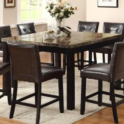 High Table And Chairs For Kitchen Indoor Wicker Glider Chair Crown Mark Bruce 2767t 5454 Square Counter Height With Faux